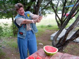 Debbie wailing at the watermelon