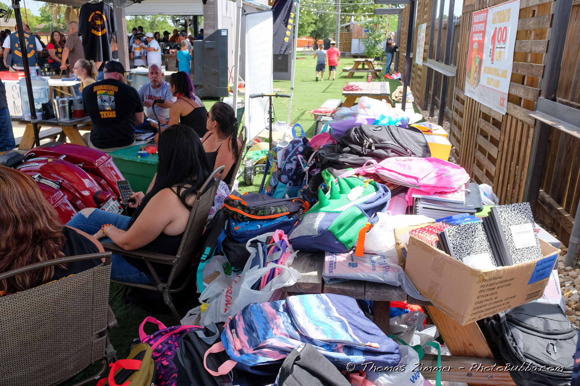 Bandidos MC School Supplies Drive at the Railhouse in Kyle | Tom